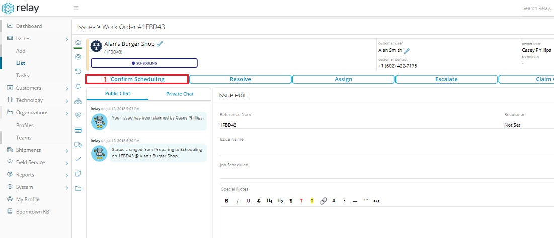 Click the Confirm Scheduling button to move on to the Confirm Scheduling workflow.