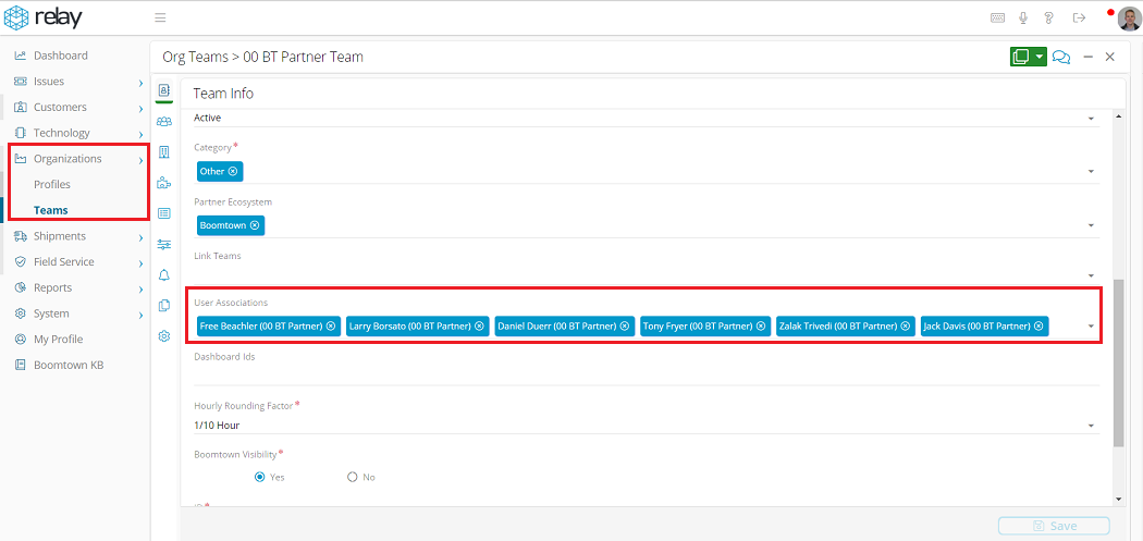 Screenshot of how to assign Users to Organization Teams in Relay.