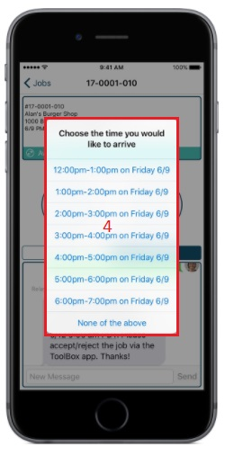 ToolBox lets technicians choose the time slot that works best for their schedule.