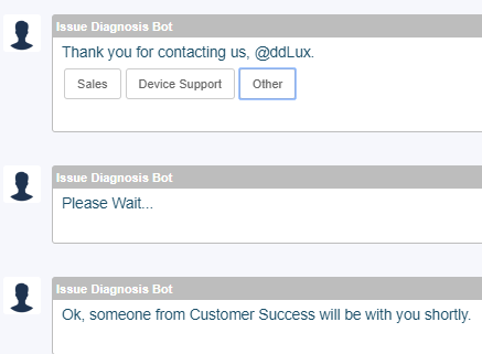 Bot-to-Human handoff with issue assignment to the Customer Success team.