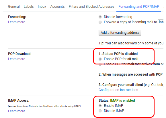 How do i set up an email integration with gmail boomtown enabling pop and imap for the relay to gmail email integration publicscrutiny Image collections
