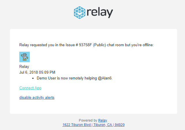 Relay email template update