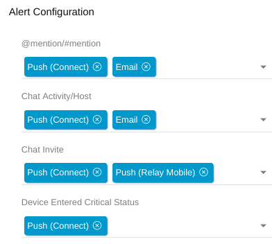 Relay configure user alerts