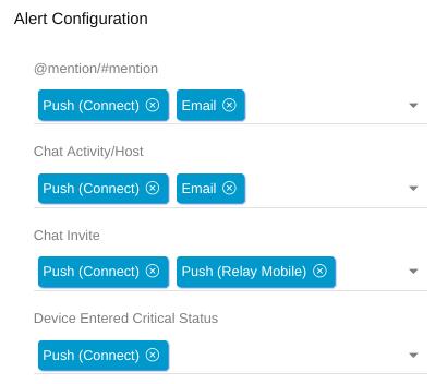 Relay configure user alerts