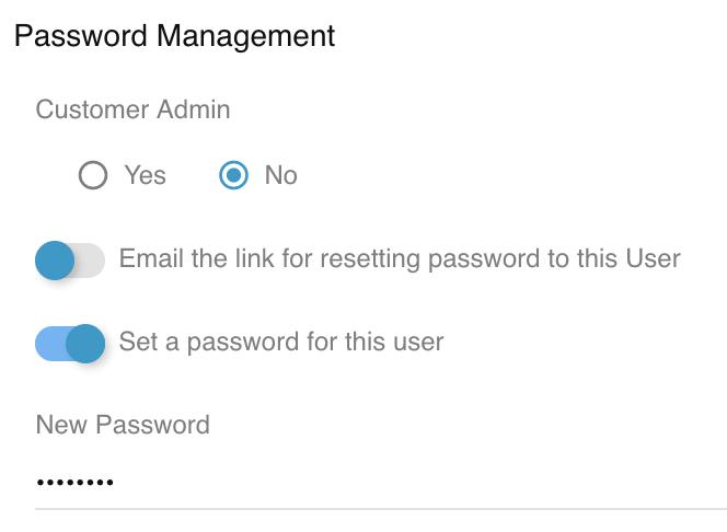 Relay Set Customer User password